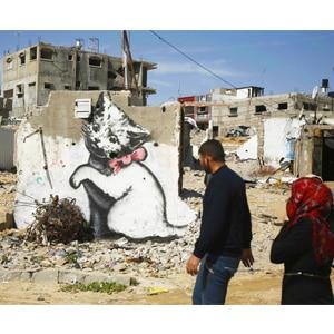 نقاشی گربه روی دیوار اثر بنکسی