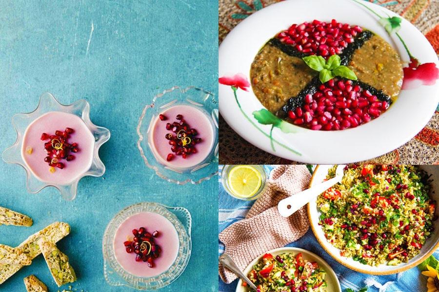 تصویری از غذاهای تهیه شده از انار